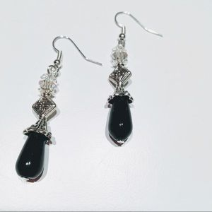 Black Onyx Earrings with crystal beads